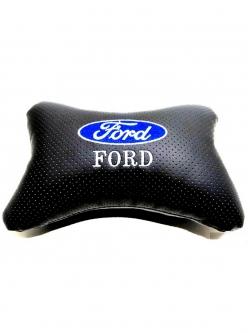 """Подушка на подголовник """"косточка"""" перфор. эко-кожа, черная для а/м Ford"""