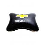 """Подушка на подголовник """"косточка"""" перфор. эко-кожа, черная для а/м Chevrolet"""