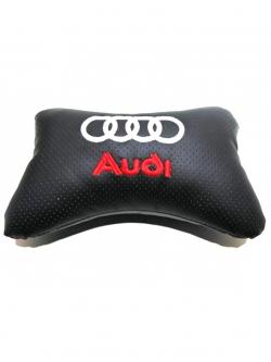 """Подушка на подголовник """"косточка"""" перфор. эко-кожа, черная для а/м Audi"""