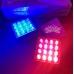 Вспышка ФСО + стробоскоп Синий/белый, 16диодов, 48w, 108*108*20мм, 9-30v