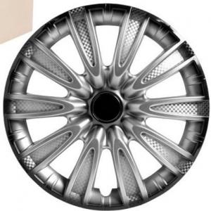 Колпаки колесные 13' Торнадо+, серебристо-черный, карбон, 4шт