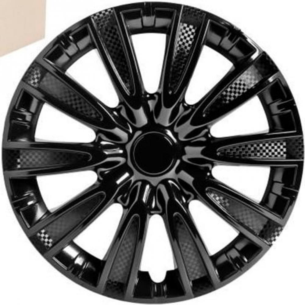 Колпаки колесные 14 Торнадо, черный глянец, карбон, 4шт