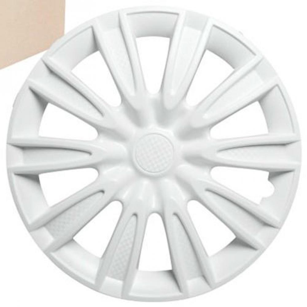 Колпаки колесные 15 Торнадо, белый, карбон, 4шт