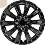 Колпаки колесные 15 Торнадо, черный глянец, карбон, 4шт