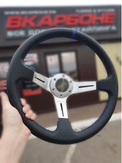 Руль спортивный с выносом, d 35см, черный карбон, синяя нить, хром алюминий,8905