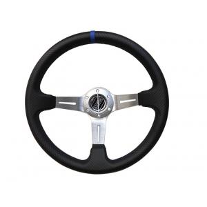Руль спортивный с выносом, d 35см,черный карбон,синяя нить,хром алюминий,8905