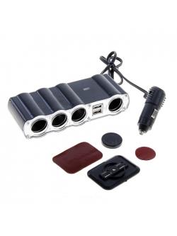 Переходник прикуривателя 4 гнезда + 2 USB 1000мА с удлинителем 4008