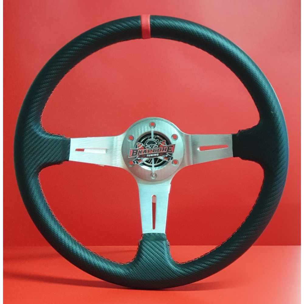 Руль спортивный с выносом, d 35см,черный карбон,красная нить,хром алюминий,8905
