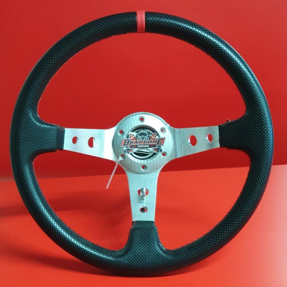 Руль спортивный с выносом, d 35см, черная перфорация,красная нить, хром алюминий, 8903