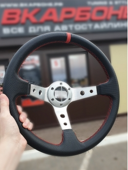 Руль спортивный с выносом, d 35см, черная перфорация, красная нить, хром алюминий, 8903