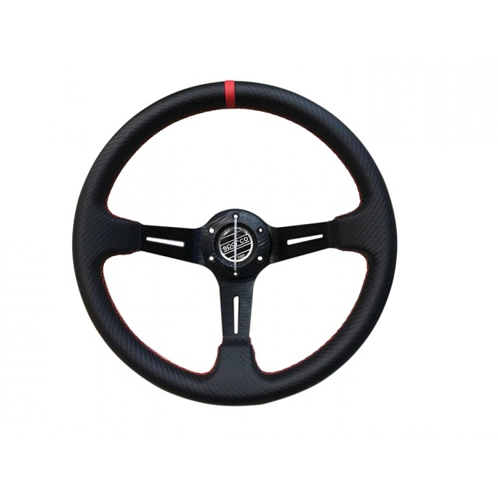 Руль спортивный с выносом, d 35см,черный карбон,красная нить,черный алюминий,8905