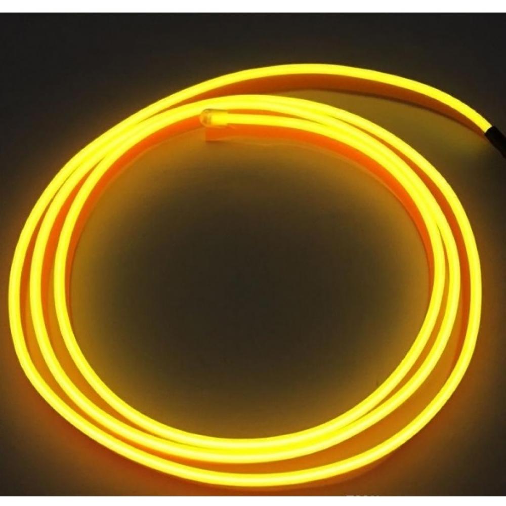 Неоновая лента Желтая с плавником 5м + инвертор в прикуриватель
