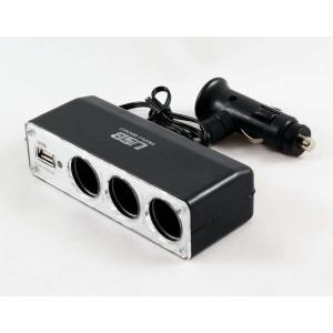 Переходник прикуривателя 3 гнезда + 1 USB 500мА с удлинителем 0120