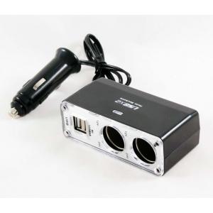 Переходник прикуривателя 2 гнезда + 2 USB 1000мА с удлинителем KS-0030