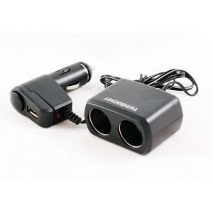 Переходник прикуривателя 2 гнезда + 1 USB 500мА с удлинителем KS-0097