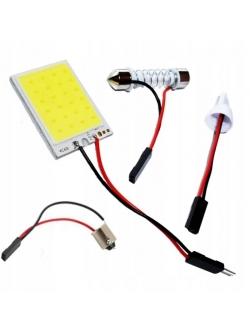 Лампа светодиодная  COB диод 32*26мм (сплошная заливка), 2 переходника, скотч, 12v