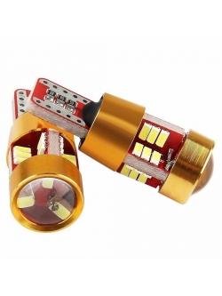 Лампа светодиодная Т10 линза, SMD27 (3014), обманка, 12-24v