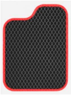 Полимерные коврики Приора черные+красный кант