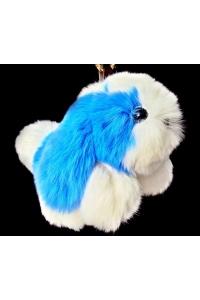 Брелок  Собачка, голубой/белый