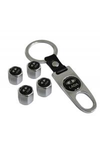 Брелок-ключ + 4 колпачка на ниппель LADA