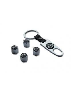 Брелок-ключ + 4 колпачка на ниппель MAZDA