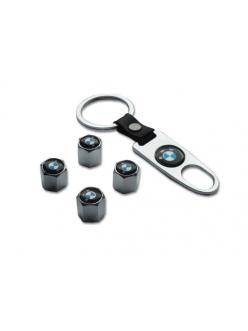 Брелок-ключ + 4 колпачка на ниппель BMW