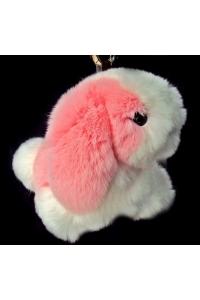 Брелок  Собачка, розовый/белый
