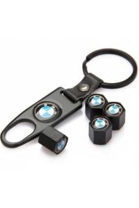 Брелок-ключ + 4 колпачка на ниппель BMW черный