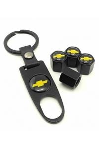 Брелок-ключ + 4 колпачка на ниппель CHEVROLET черный