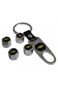 Брелок-ключ + 4 колпачка на ниппель CHEVROLET