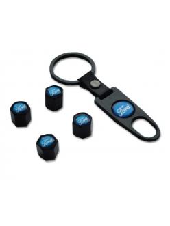 Брелок-ключ + 4 колпачка на ниппель FORD черный