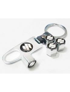 Брелок-ключ + 4 колпачка на ниппель SUZUKI
