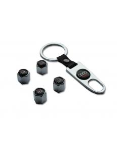Брелок-ключ + 4 колпачка на ниппель AUDI