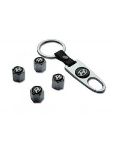 Брелок-ключ + 4 колпачка на ниппель HYUNDAI