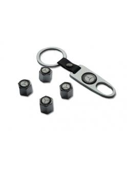 Брелок-ключ + 4 колпачка на ниппель MERCEDES