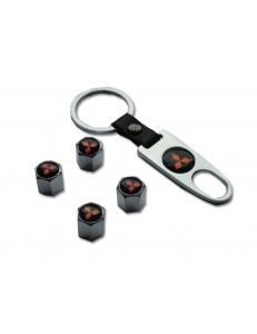 Брелок-ключ + 4 колпачка на ниппель MITSUBISHI