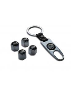 Брелок-ключ + 4 колпачка на ниппель NISSAN