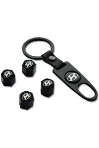 Брелок-ключ + 4 колпачка на ниппель HYUNDAI черный