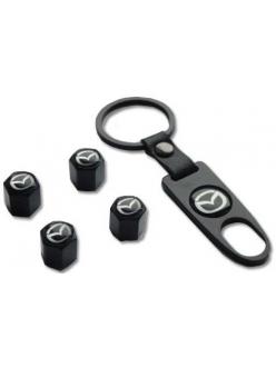 Брелок-ключ + 4 колпачка на ниппель MAZDA черный