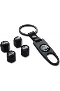 Брелок-ключ + 4 колпачка на ниппель NISSAN черный