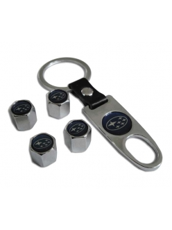Брелок-ключ + 4 колпачка на ниппель SUBARU