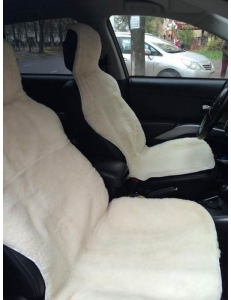 Накидка на сиденье из овечьей шерсти белая