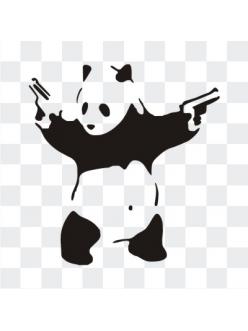 Панда с пистолетами наклейка