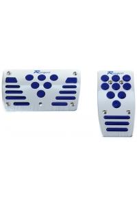 Накладки на педали серебристые с синей резиновой вставкой АКПП
