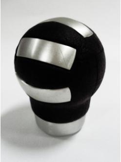 Ручка кулисы КПП круглая (алюминий+кожа)